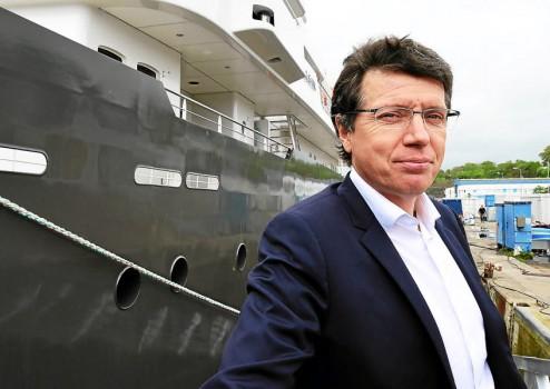 """Pascal Piriou, P-DG du chantier concarnois. """"La construction du Yersin nous ouvre de nouvelle portes vers le marché du yacht""""."""